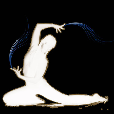 silhouette of a person doing yoga Vector