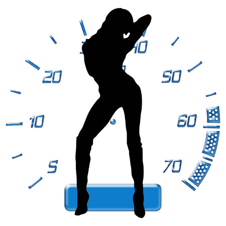 silhouette of a sexy woman in front of a car guage