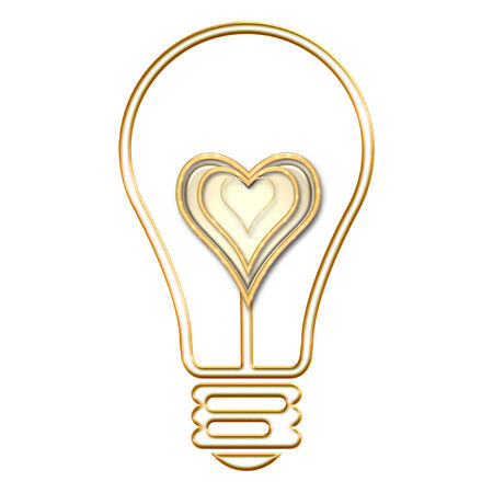 a lightbulb with a pretty heart in it