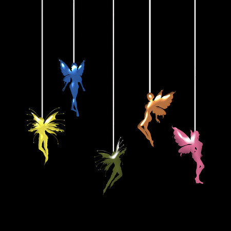 several little colorful fairies dangling on strings