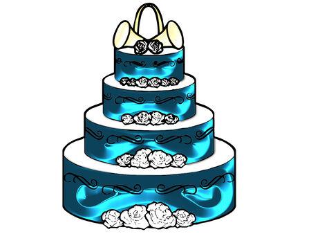 きれいな色で行われる大規模なウェディング ケーキ