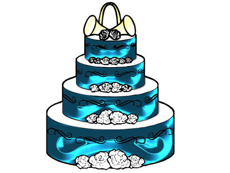 a large wedding cake done in pretty colors Ilustração