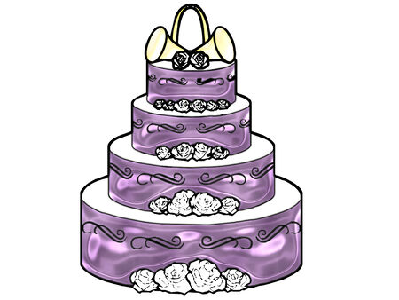 a large wedding cake done in pretty colors Illustration