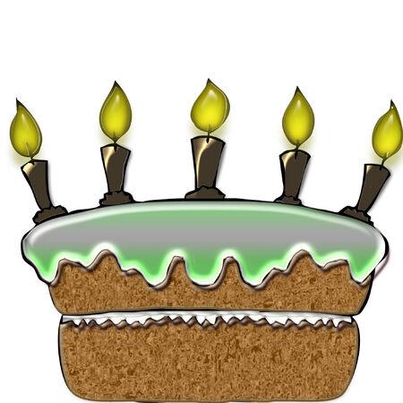 かなりアイシングおよび蝋燭との大きな誕生日ケーキ