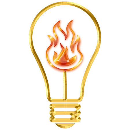 a light bulb with bright flames in it