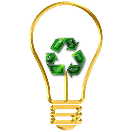 a light bulb with a recycle symbol in it
