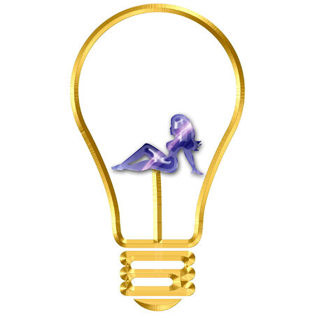 a light bulb with a sexy female silhouette in it