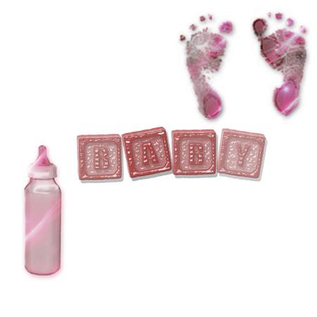 blocks with bottle and foot prints Illusztráció