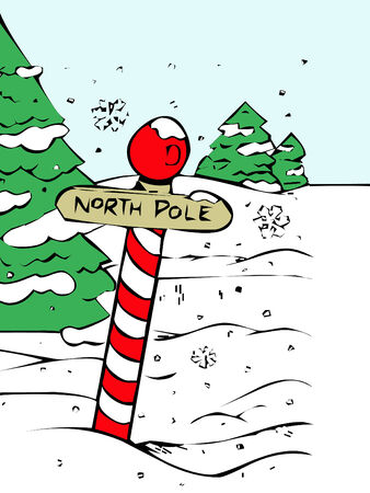 north pole sign: sign for the north pole with snow covered trees