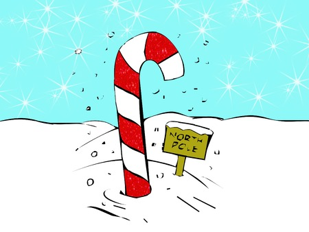north pole sign: a big candy cane and sign for the north pole
