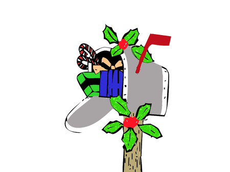 a mailbox stuffed with christmas presents Illustration