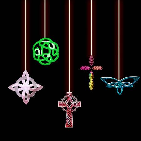 Diversi simboli celtiche appeso da stringhe Archivio Fotografico - 5274929