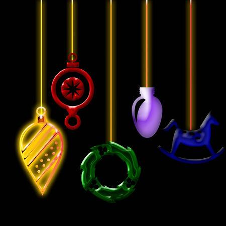 several pretty hanging christmas ornaments Ilustração
