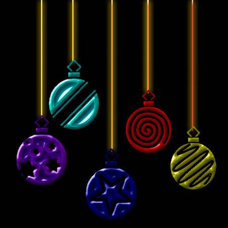 several pretty hanging christmas ornaments Çizim