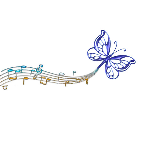 a butterfly and music notes Imagens - 5274964
