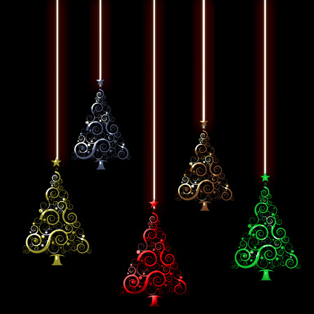 dangling: several christmas trees in cool colors dangling from strings