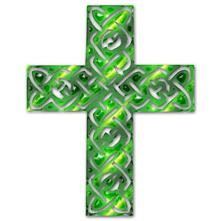 a pretty colorful intricate celtic cross
