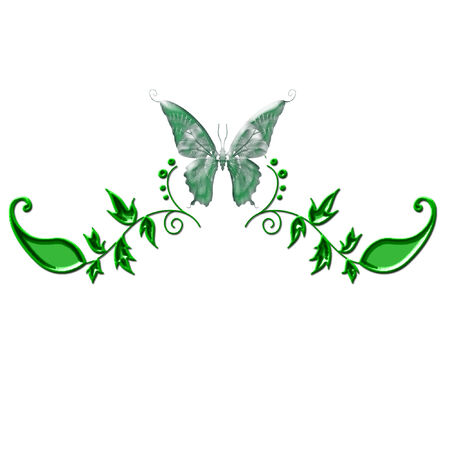 a pretty colorful butterfly and flowers Stock Vector - 5274934