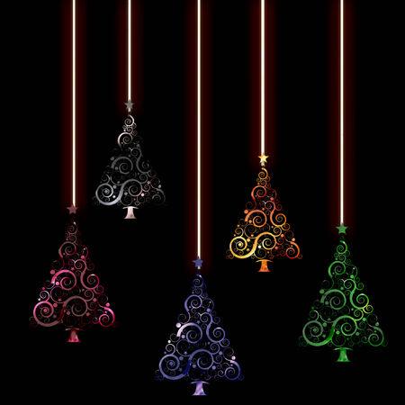 de varios �rboles de Navidad en colores fr�os colgando de cuerdas de Foto de archivo - 5274945