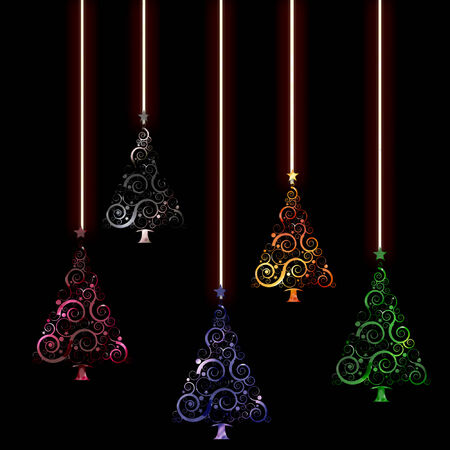 several christmas trees in cool colors dangling from strings
