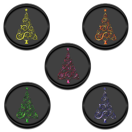 pretty buttons with colorful christmas trees