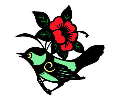 glittery: a colorful glittery bird with flowers Illustration