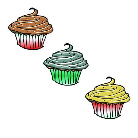 いくつかの非常にカラフルなカップケーキ