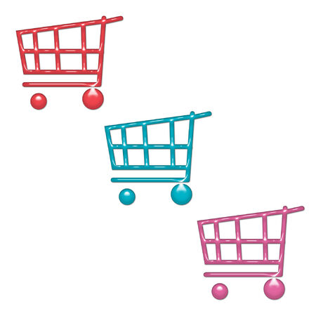 pretty and colorful shopping carts