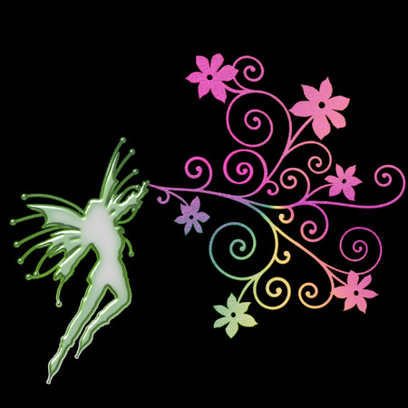 a fairy silhouette on a pretty background Stock Vector - 5285716