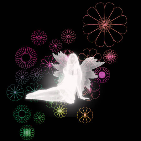 fairy silhouette: a fairy silhouette on a pretty background