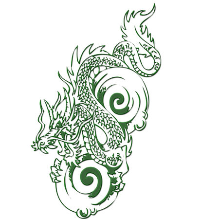 a dragon done in bright green Illustration