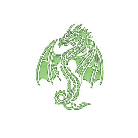 a dragon done in bright green Çizim