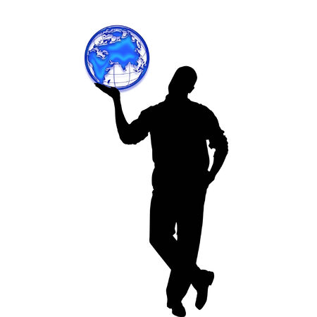 silhouette of a person holding the planet earth Çizim