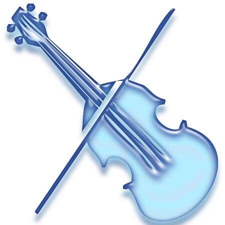 a violin done in bright blue