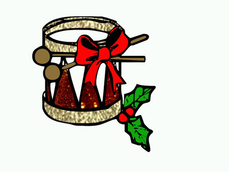 pretty little red and gold christmas drum