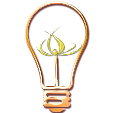 a light bulb with a bright geometric design in it