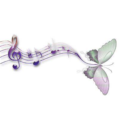 a butterfly and music notes Ilustrace