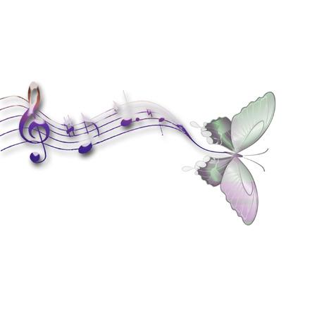 een vlinder en muziek notities