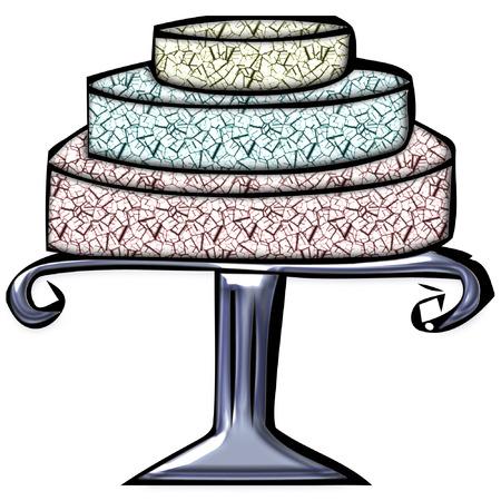 砂漠のカラフルな見るケーキ  イラスト・ベクター素材