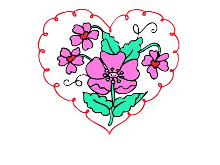 a very pretty and bright heart design Çizim