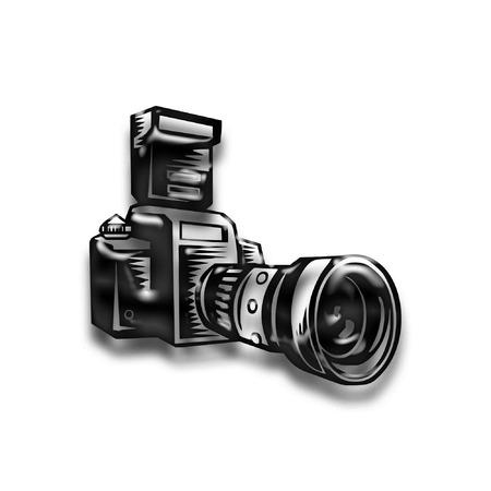 a camera done in bold black  Иллюстрация