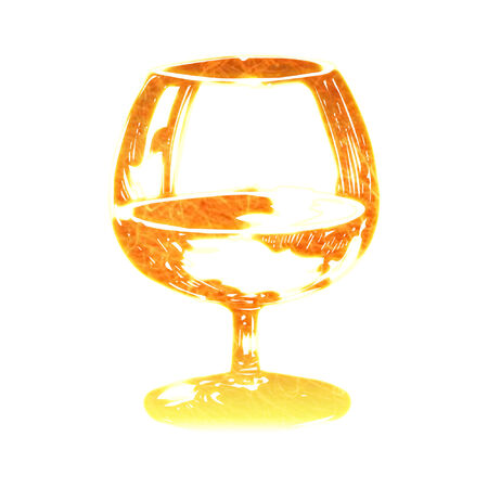 a brandy glass done in bright colors