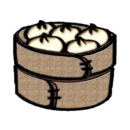 a bamboo steamer full of dumplings