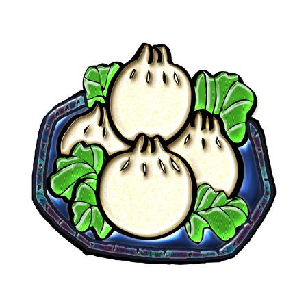 een mooie plaat vol dumplings  Stock Illustratie