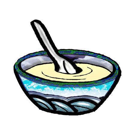 een kom soep voor de lunch Stock Illustratie