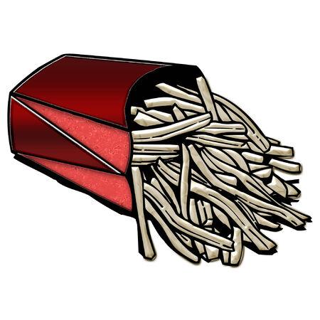 熱いフライド ポテトの明るい赤のボックス  イラスト・ベクター素材