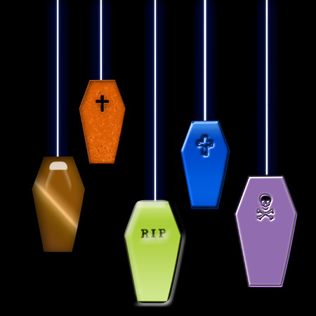 colorful coffins hanging from strings Ilustracja