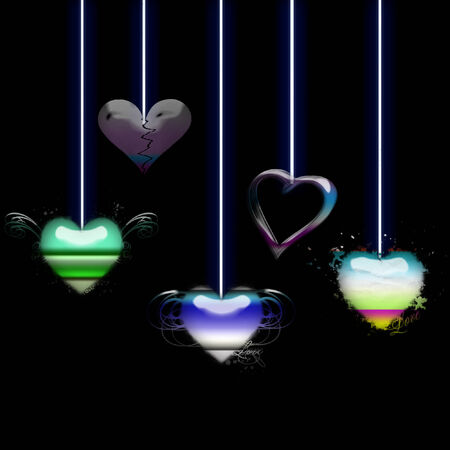 several pretty hearts dangling from strings