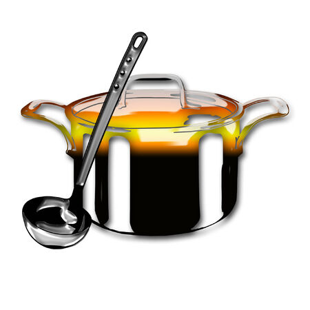 a cool looking cooking pot and a ladle  Ilustrace