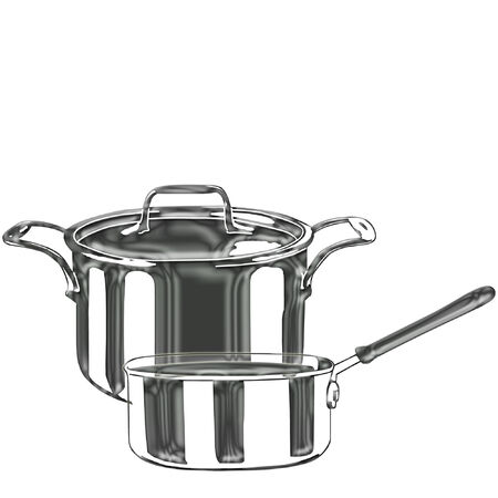 a set of stainless cooking pots  Çizim